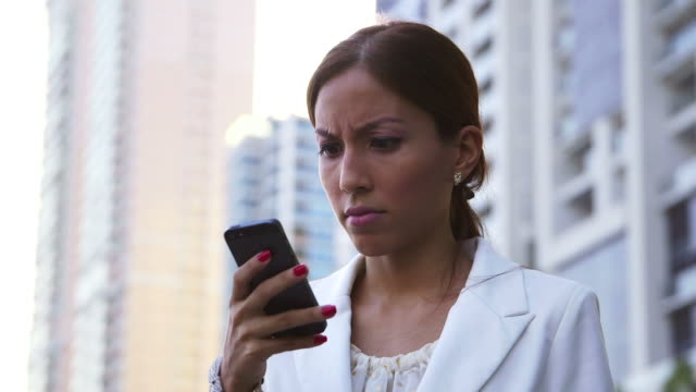 Angry businesswoman, people, manager reading text message, mobile phone video