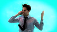 Angry man having a phone call underwater video