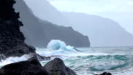 SLOW MOTION: Angry waves splashing into each other rising out of the sea video