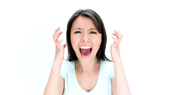 Angry woman shouting video