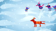 Animals ice-skating on a winter background video