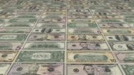 Animated background showing a large set of US Dollar banknotes sliding by video