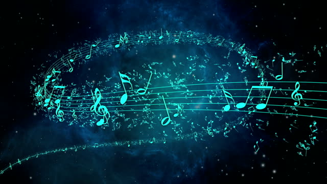 Animated background with musical notes - LOOP video