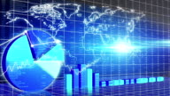 Animated chart presentation, world map, market overview, oil price, GDP video