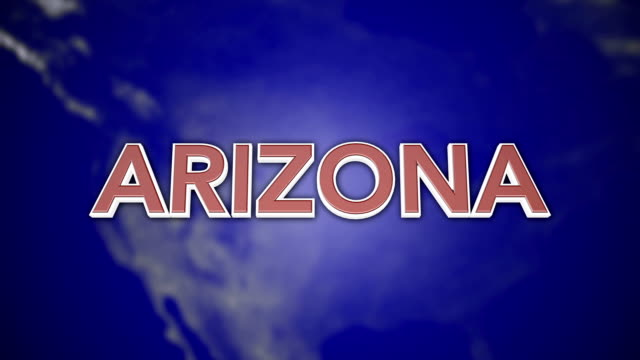3D Animated Colorful Motion Graphics state typography - Arizona video