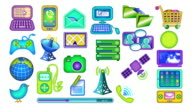 Animated communications icons, loopable, with mattes. Twenty-five. Colorful version. video