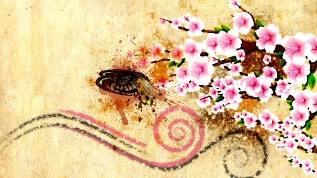 animated decorative backdrop with growing paint flowers and butterfly video