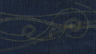 Animated embroidery, stitched on denim fabric, loops from 14:00 onwards video