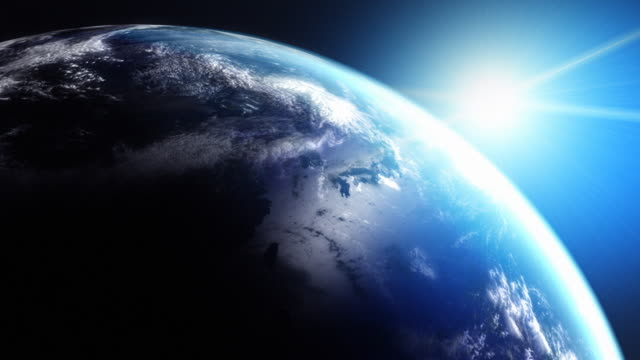 Animated globe. Video background. Earth from space. Blue. HD. Loop. video