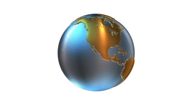 Animated globe. Video background. Gold&blue metal Earth HD. Loop. video