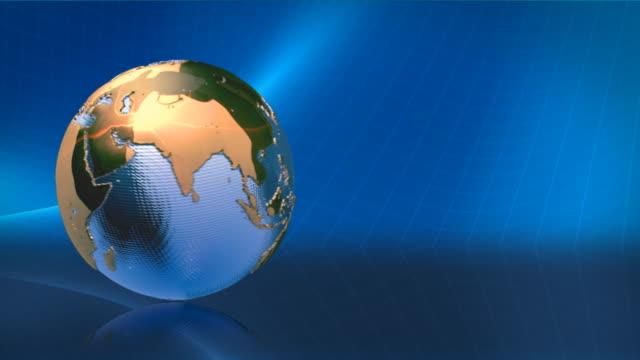 Animated globe. Video background. Metal Earth on blue. HD. Loop. video