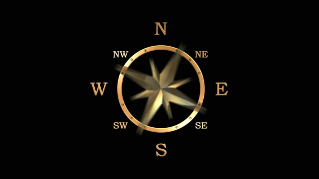 3D Animated golden compass video
