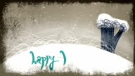 Animated Happy Holidays Lettering on Winter Background video