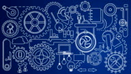 Animated Mechanization Movement Blue HD Video video