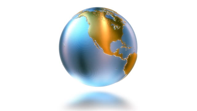 Animated metal globe with glow and reflection. HD background. Loop. video