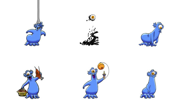 Animated monsters actions. 6 in 1. Luma matte. video
