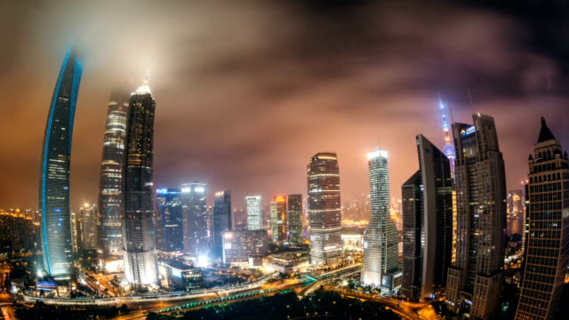 Animated picture with cinemagraph effect of Fisheye View of Downtown Shanghai at Night / Shanghai, China video