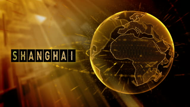 animated planet earth with the title Shanghai city video