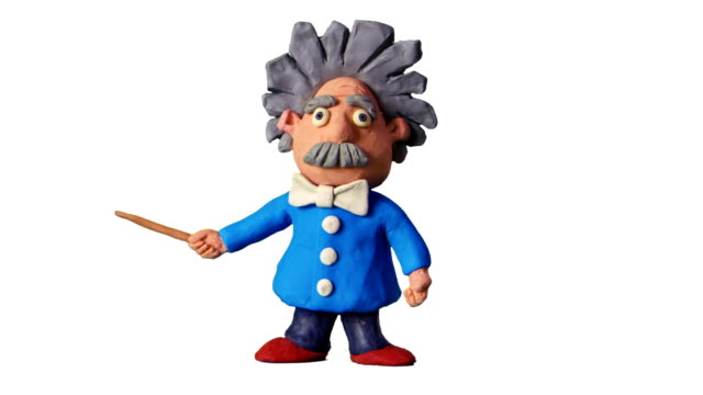 Animated scientist with mask. Stop motion video