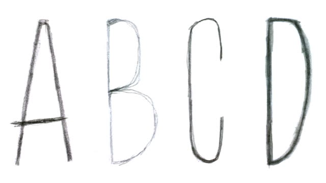Animated sketch-style english alphabet. Part I - letters A-P. video