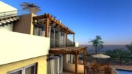 3D animated swoop of a villa in sunny coastal location video