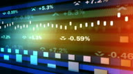 Animated ticker showing stock market fluctuations, percentage indices running video