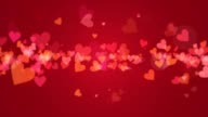 Animated valentine hearts on red video