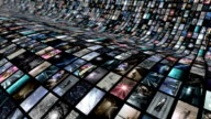 Animated video wall, curved. Loop-able 4K video