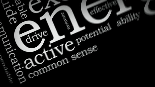 Animated word cloud of influential words video