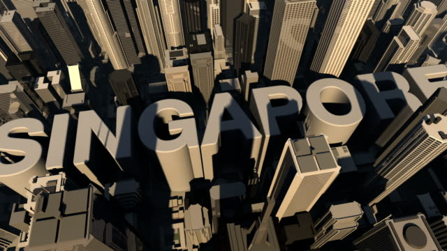 animation 3d from the name of city singapore video