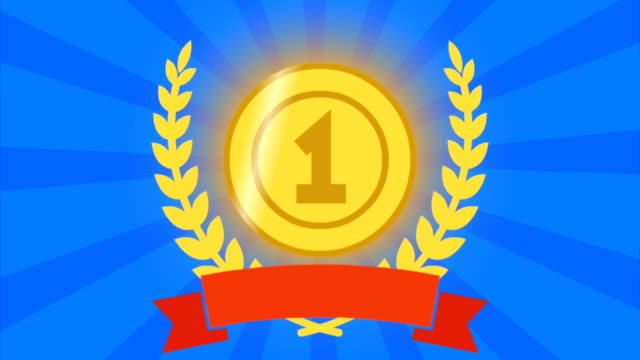 Animation award for the first place. Medal with number one. Gold garland and red ribbon. Medal sparkles and shimmers. video
