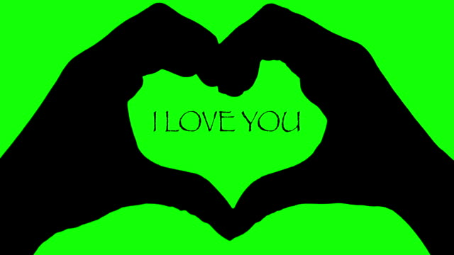 Animation Banner hands heart I LOVE YOU text green background video