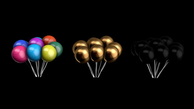 Animation bundle of balloons with alpha channel video