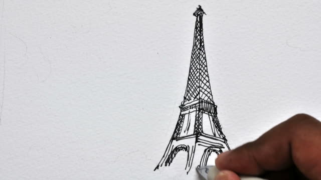animation drawing Eiffel Tower is located in Paris time-lape video