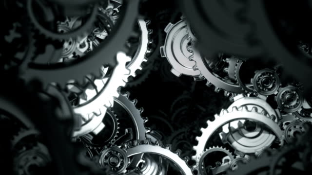 Animation moving through spinning gears and cogs video