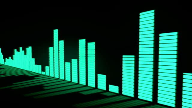 3D animation: Music control levels. Glow green - blue turquoise color audio equalizer bars moving with the reflection from the mirror surface. Black background. Deep. Sliding. video