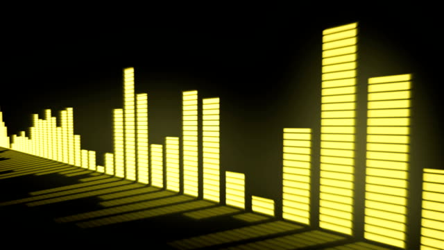 3D animation: Music control levels. Glow yellow - golden color audio equalizer bars moving with the reflection from the mirror surface. Black background. Deep. Sliding. video