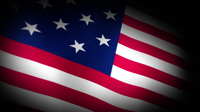 3D Animation of American USA American Flag Closeup Canvas Texture video