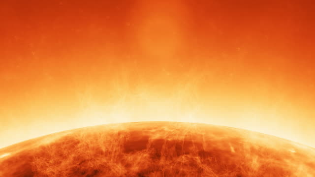 Animation of atmosphere solar in the sun with flames anda blazes video