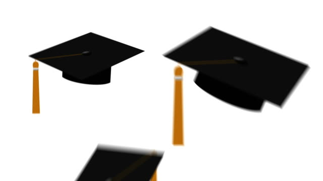 Animation of Black Grad Caps with Yellow Tassels Tossed in the Air video