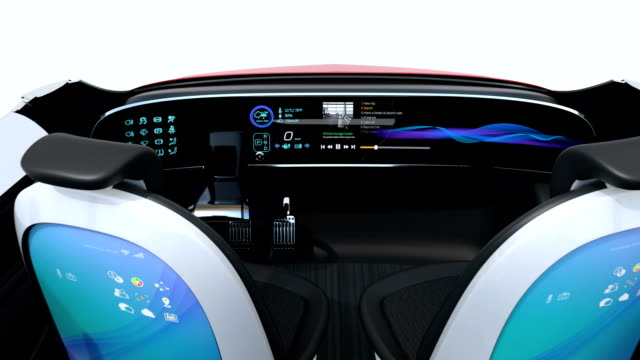 3D animation of business meeting layout in self driving  car video