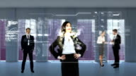 Animation of business people looking at tech interface video