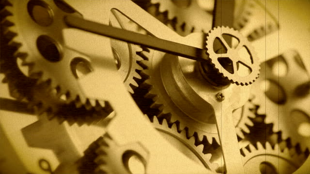 Animation of  clock gears working. Retro style video