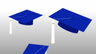 Animation of Dark Blue Grad Caps with White Tassels Tossed in the Air video