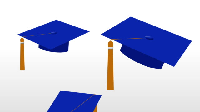Animation of Dark Blue Grad Caps with Yellow Tassels Tossed in the Air video