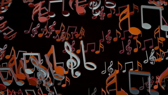 Animation of flowing musical notes full HD Background video
