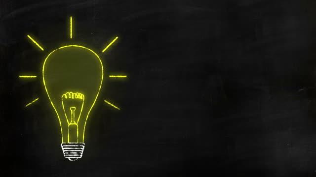 Animation of hand drawn bulb on chalk board. video