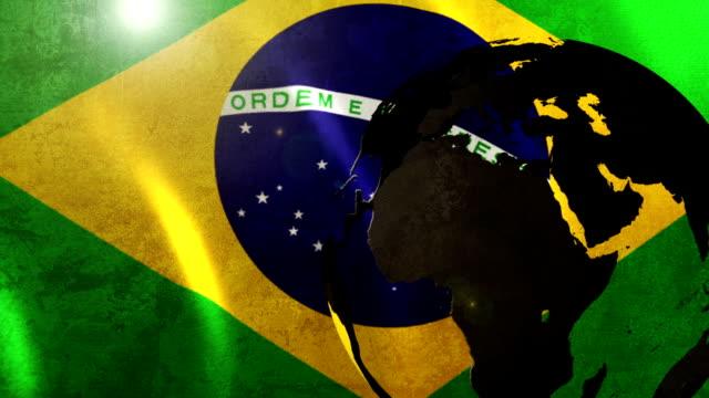 HD Animation of Highlighted Brazil & Brazilian Flag video
