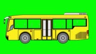 Animation of Mini  bus  on green screen. video