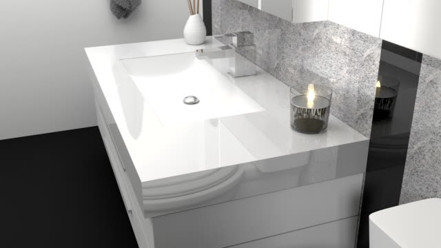 animation of modern bathroom with black and white granite stone video